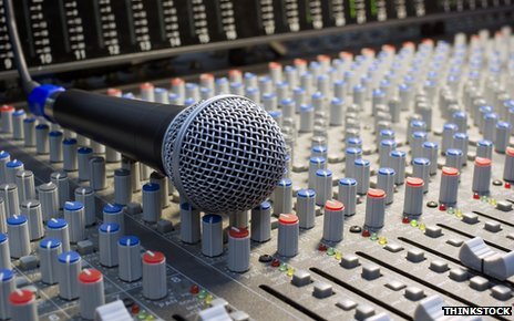 Microphone on mixing desk