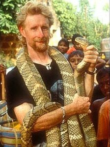 Mark O'Shea with a snake