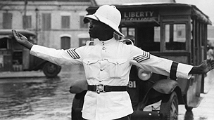 Barbados policeman directs traffic in 1934