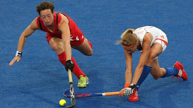 Hannah Macleod (left) playing for Great Britain at London 2012