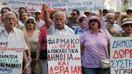 Greek pensioners marching through Athens