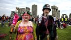 Pagans attending the Summer Solstice at Stonehenge