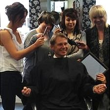 David Morris with hairdressing students