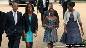 The Obama family walk to a church in Washington DC 19 August 2012
