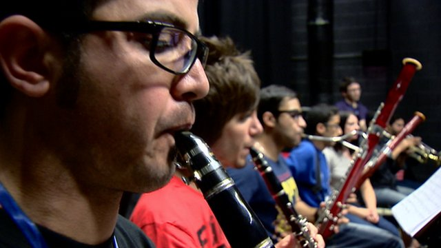 The National Youth Orchestra of Iraq plays with Scottish musicians