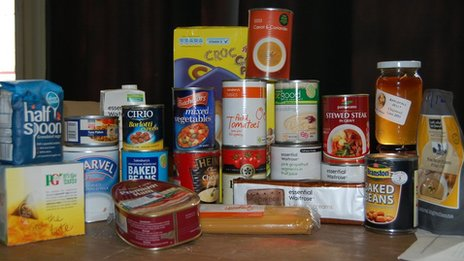 Contents of an emergency food box, which has three days&#039; of food for a single person