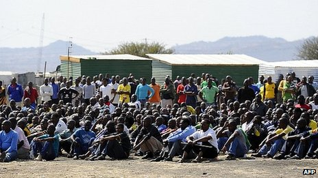Striking workers outside the Lonmin mine. 20 Aug 2012