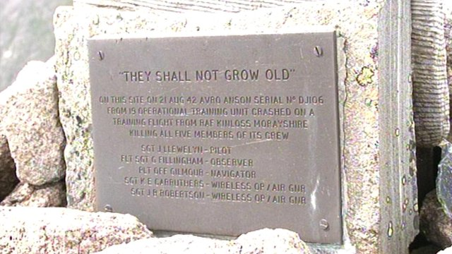 Plaque to those who died in the Avro Anson crash