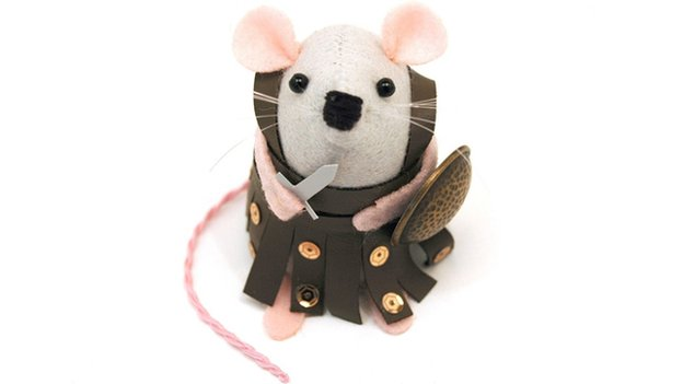 Mouse in gladiator costume