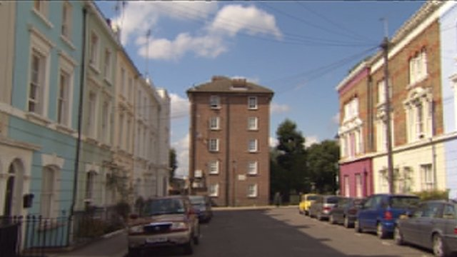 A Notting Hill street with mansion houses and social housing