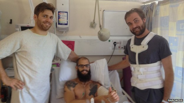 Three members of Baroness in hospital