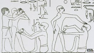 Carving on the tomb at Saqqara, Egypt, showing the circumcision of two puberty-aged males. Carved around 2600 BC.