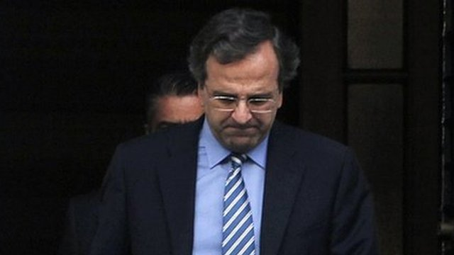Greek Prime Minister Antonis Samaras leaves talks in Athens&#039; Maximou Mansion on 1 August 2012