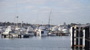 Boats moored in Fremantle, Perth, on 14 July 2012