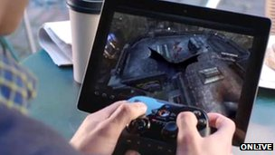 OnLive being used on a tablet