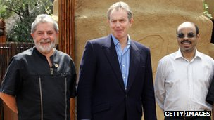 Brazil's Luiz  Inacio Lula da Silva, the UK's Tony Blair and Ethiopia's Meles Zenawi in South Africa on 12 February 2006