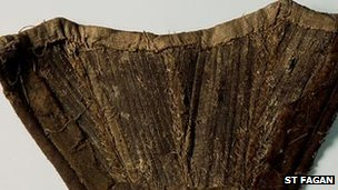 A fragment of a mid-18th century corset found in a wall during restoration work to a thatched cottage in Pontarddulias (c) St Fagans: National History Museum