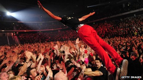 Billie Jo Armstrong of Green Day makes a stage dive