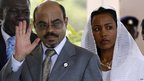 Meles Zenawi and his wife Azeb Mesfin in Accra, 2007