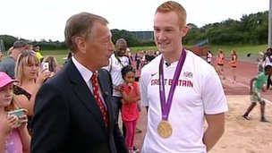 Stewart White and Greg Rutherford at Milton Keynes Athletics Club