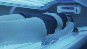 woman on sunbed