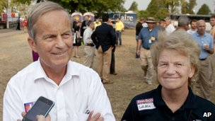 Todd Akin and his wife Lulli, talk with reporters while attending the Missouri State Fair in Sedalia 16 August 2012