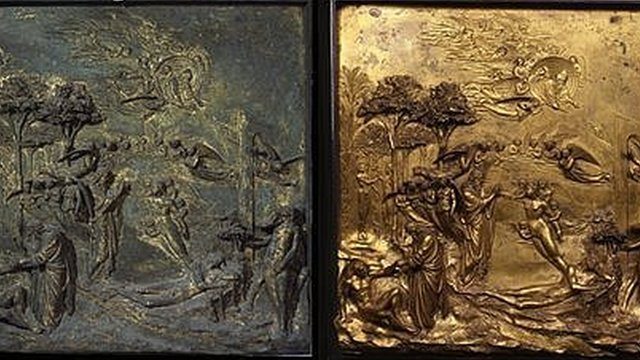 "Lorenzo Ghiberti's ""Gates of Paradise"" before and after restoration"