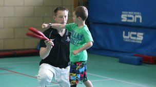 Child at sports taster day