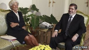 IMF chief Christine Lagarde meets Mohammed Mursi in Cairo (22 August 2012)