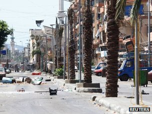 Empty street in Tripoli, Lebanon (22 August 2012)