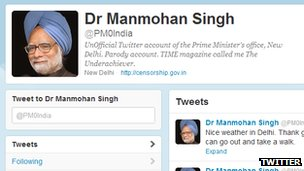 Screenshot of fake Indian prime minister Twitter account