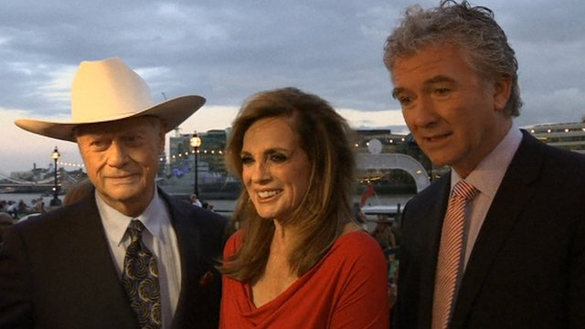 Larry Hagman, Linda Gray at Patrick Duffy at London launch