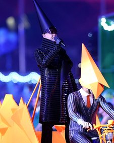 The Pet Shop Boys perform West End Girls at the Olympic closing ceremony