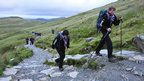 Disabled and non-disabled Scouts from Gwynedd scouts ascending Mount Snowdon