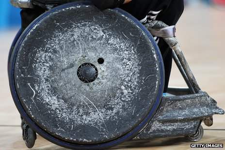 Rugby wheelchair wheel