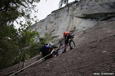 Brad Zdanivsky climbing