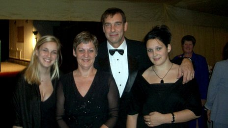 Tony Nicklinson pictured in 2004 with his wife and two daughters