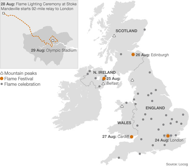 Paralympic torch relay route