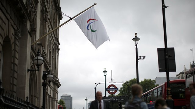 The Paralympic flag hangs in London.
