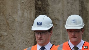 George Osborne and Danny Alexander visiting construction site
