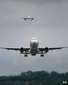 Flights arriving at Gatwick airport