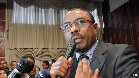 Ethiopia's Deputy Prime Minister Hailemariam Desalegn at a news conference in Addis Ababa on 17 August 2012