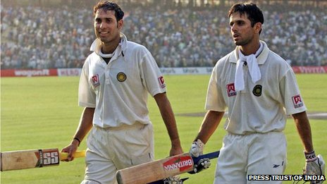 A file photo of VVS Laxman with Rahul Dravid during their epic partnership of 376 runs to set up a historic victory for India against Australia in a test match in Kolkata in 2001.