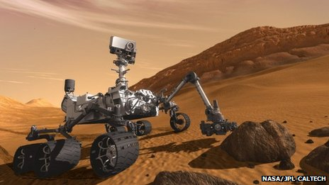 Artist&#039;s impression of Curiosity on Mars