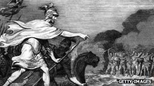 Picture of Caesar invading Britain