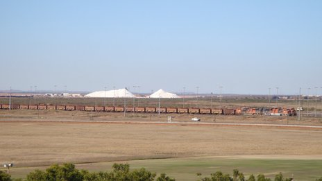 Iron ore train heads to Port Hedland on 8 July 2012