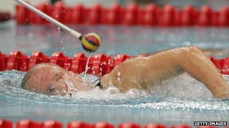 A blind Paralympic athlete is 'tapped'