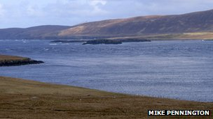 A view of Bluemull Sound