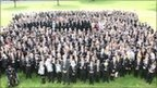 Stretford whole school photo with School Report lanyards
