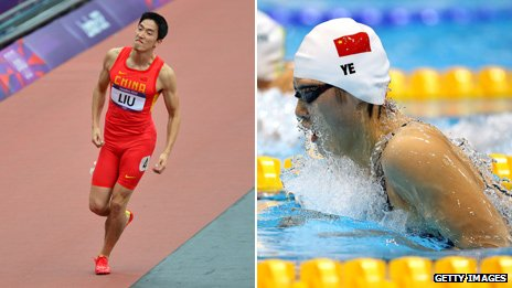 Liu Xiang and Ye Shiwen competing at the London 2012 Olympics